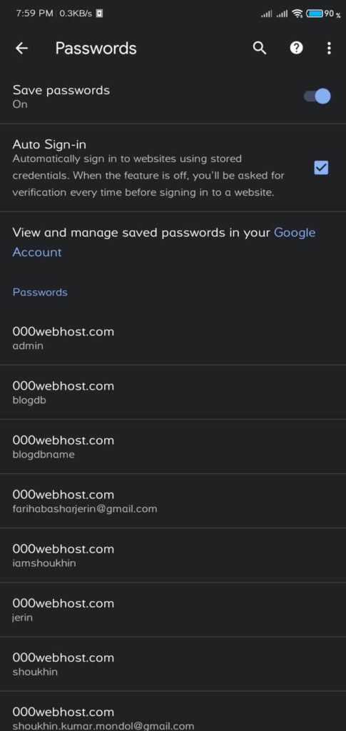 Android Password Chrome Screenshot 4