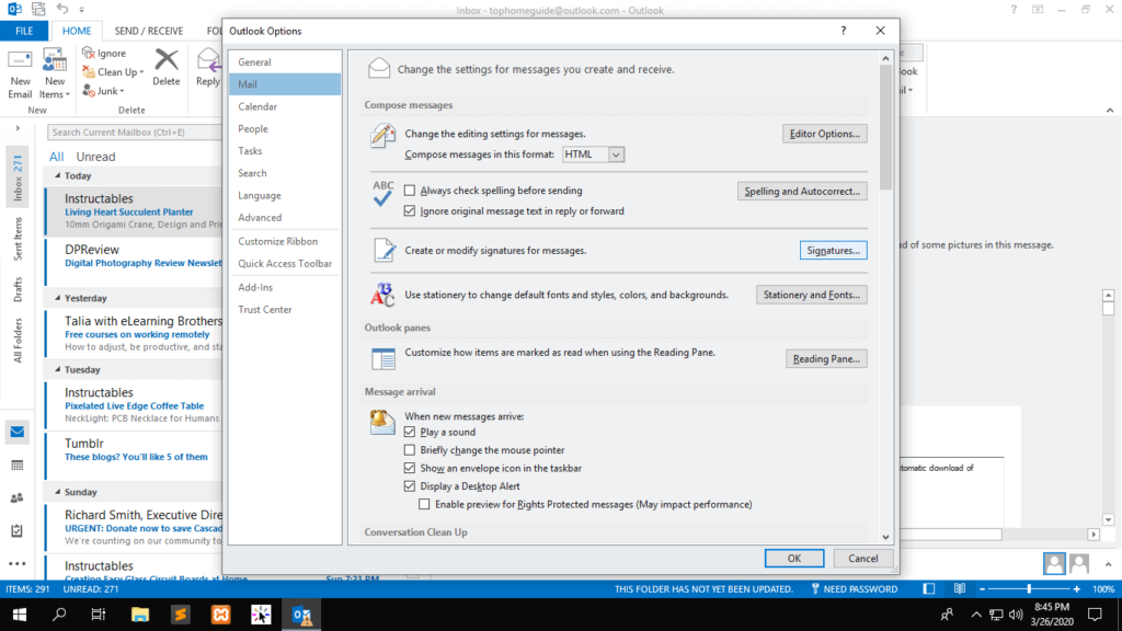 Outlook signature change shoukhintech 2