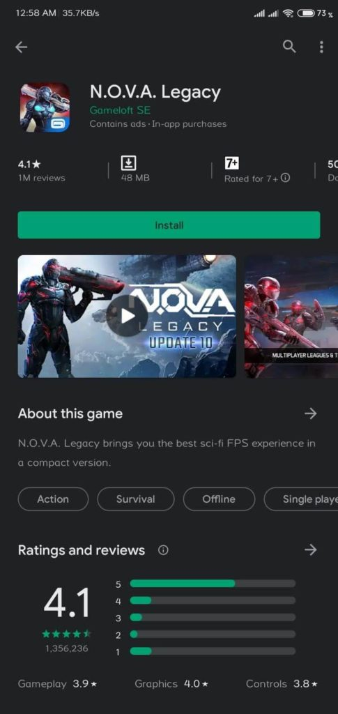 nova lagacy android paid games