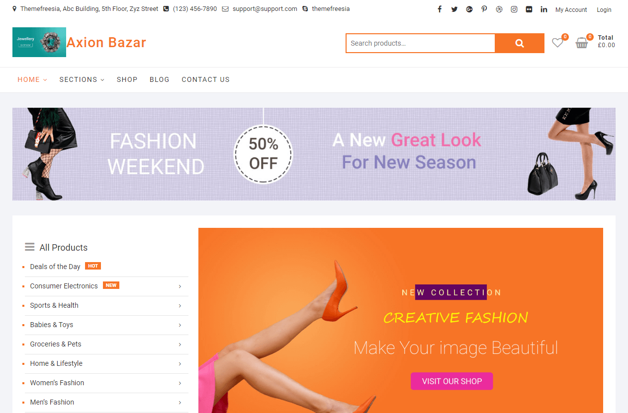 Axion_Bazar wordpress website