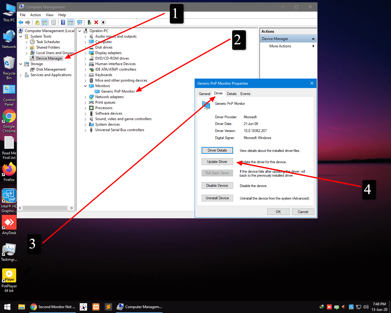 driver update for second monitor not detecting problem