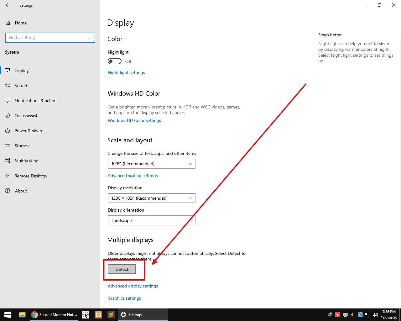 monitor not deteceting windows 10
