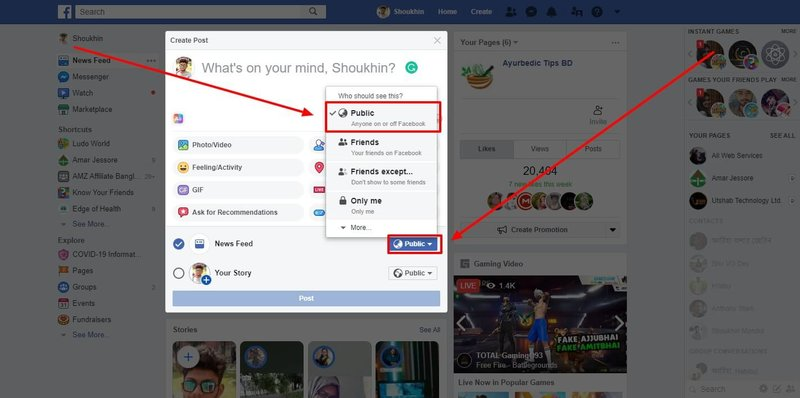 facebook all post shareable default