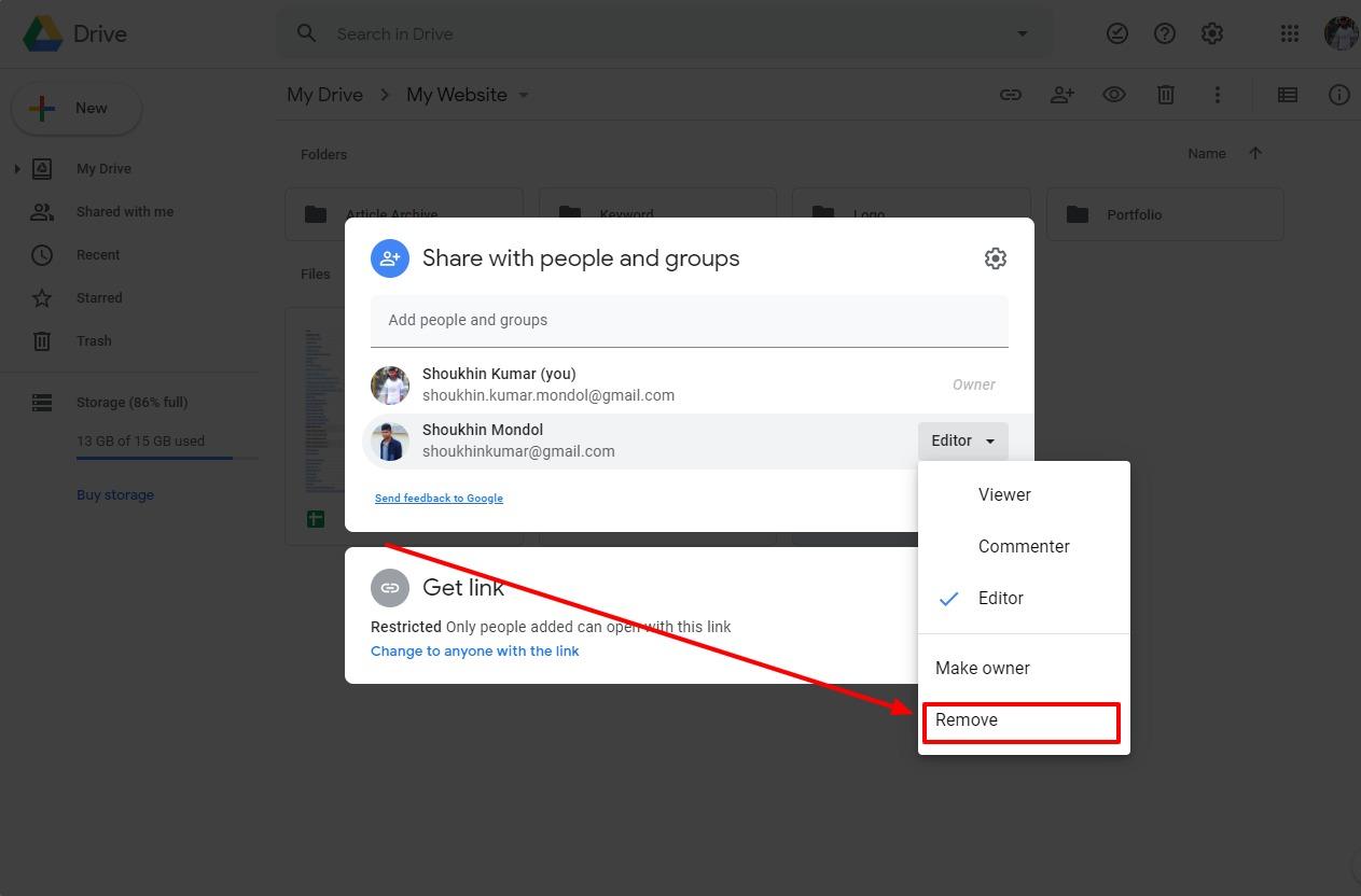 Google Doc unshare option