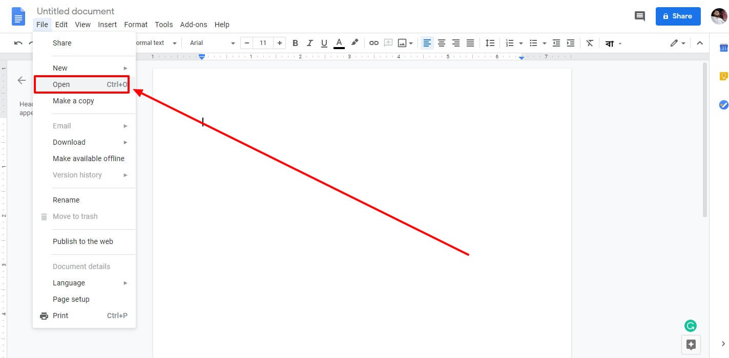 New file open in google docx