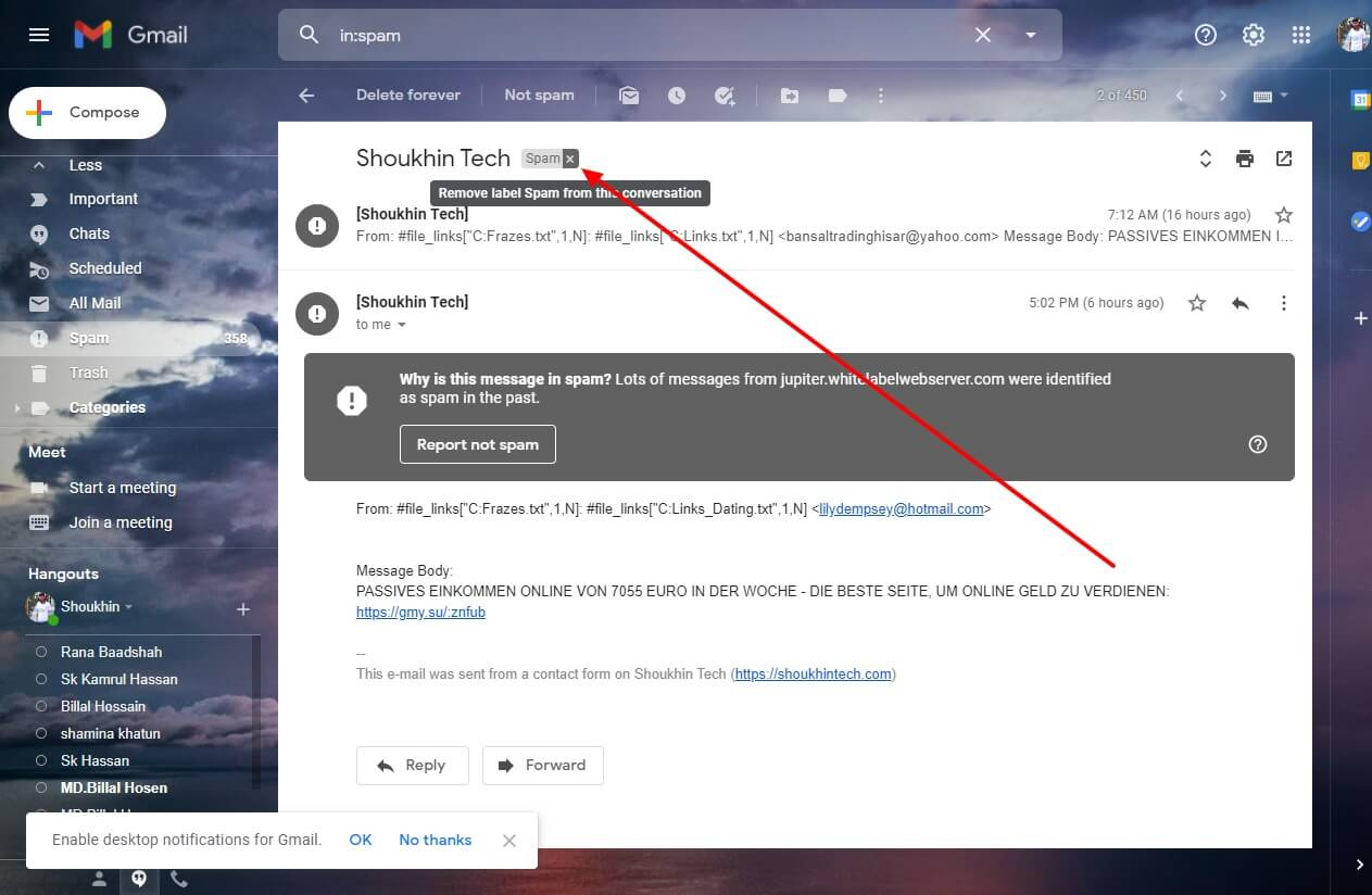 Unarchive gmail and move to inbox shoukhintech