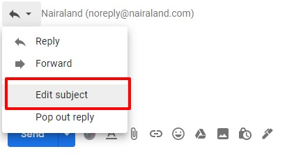 edit subject line of gmail reply