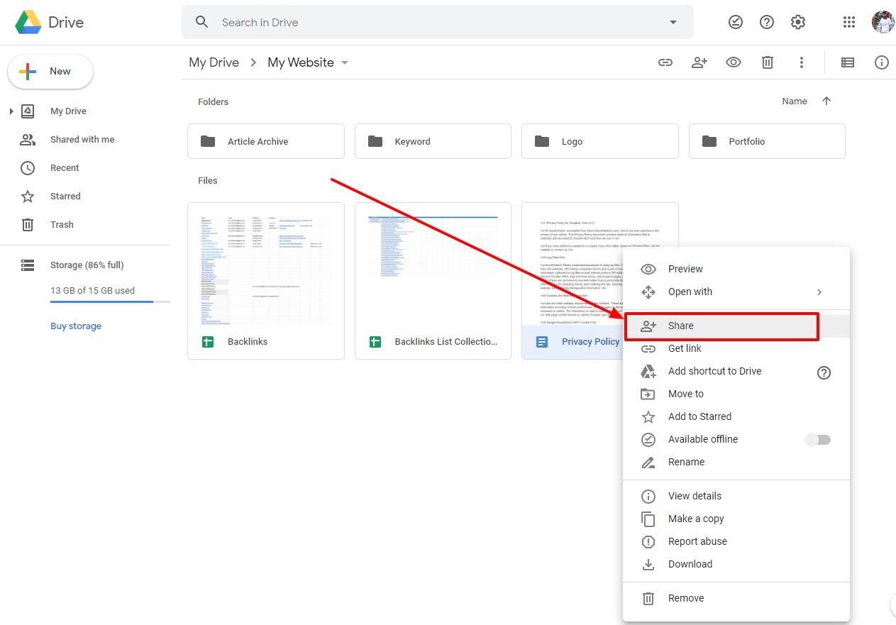 google doc remove access option