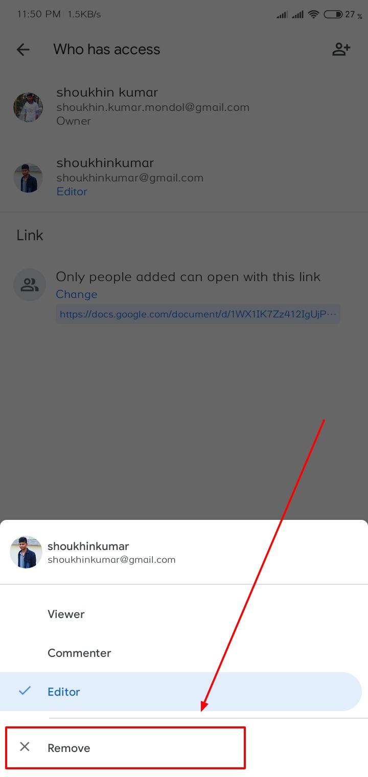 goole doc sharing option mobile